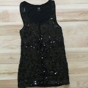 Black sequin front stretch tank top Size XS